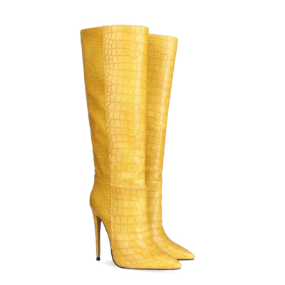 Up2step Yellow Sexy Woman Croc-Printed Stiletto Heel Knee High Boots