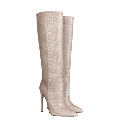 Up2step Pink Sexy Woman Croc-Printed Stiletto Heel Knee High Boots