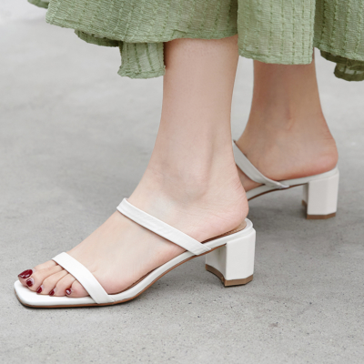 White Women's Strappy Chunky Heel Mules Sandals