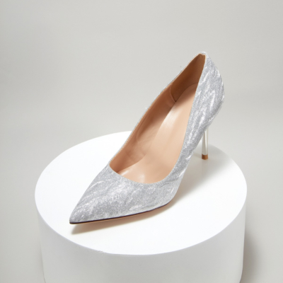 Silver Glitter Crystal Wedding Pumps High Heel Shoes Dress Sequin Heels
