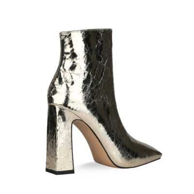 Shiny Metallic Square Toe High Heel Ankle Boots