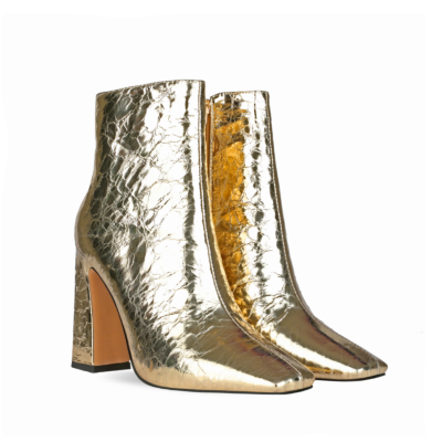 Golden Shiny Metallic Square Toe High Heel Ankle Boots