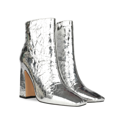 Silver Shiny Metallic Square Toe High Heel Ankle Boots