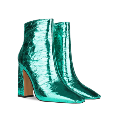 Green Shiny Metallic Square Toe High Heel Ankle Boots
