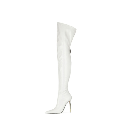 White Long Thigh High Boots Stiletto Heel Wide Calf Zip Dance Pleaser Boots