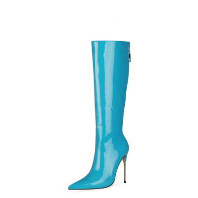 Shiny Blue Tall Zip Boots Metallic Stiletto Heel Knee High Boots For Work