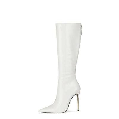 White Tall Zip Boots Metallic Stiletto Heel Knee High Boots For Work