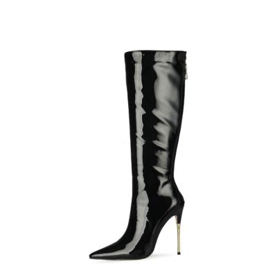 Shiny Black Tall Zip Boots Metallic Stiletto Heel Knee High Boots For Work