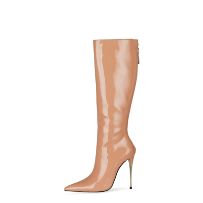 Nude Tall Zip Boots Metallic Stiletto Heel Knee High Boots For Work