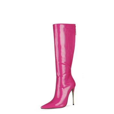 Fuchsia Tall Zip Boots Metallic Stiletto Heel Knee High Boots For Work
