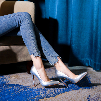 Silver Court Pumps Pointed Toe Stilettos for Office With High Heel