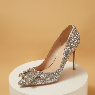 Silver Sequin Pointed Toe Rhinestones Bridal Heeled Glitter Pumps