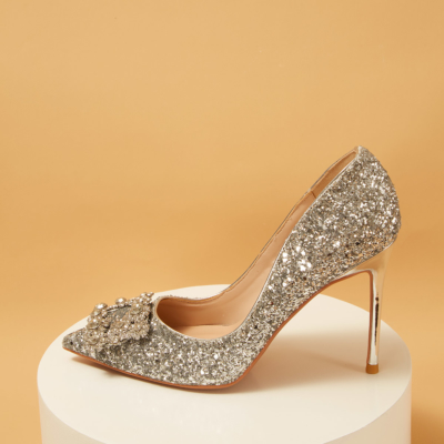 Silver Glitter Pointed Toe Rhinestones Bridal Heeled Pumps