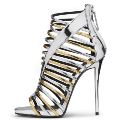 Silver Metallic Hollow Out Gladiator Sandals Stiletto Heel Shoes with Back Zipper
