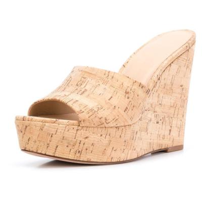 Slide Wedge Heel Beach Sandals Wooden Heeled Mules Shoes
