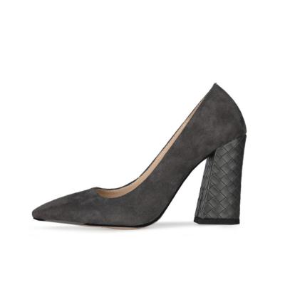 Grey Suede Work Shoes Croc-Printed Block High Heels 2021 Pumps
