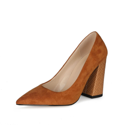 Slip-on Suede Work Shoes 4 inches Block High Heels 2021 Pumps