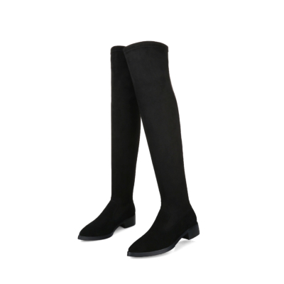 Slip Resistant Pointy Toe Heeled Stretch Thigh High Boots