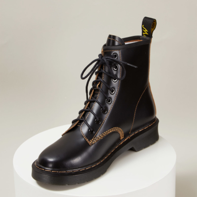 Smooth Leather Platform Round Toe Lace Up Ankle Boots