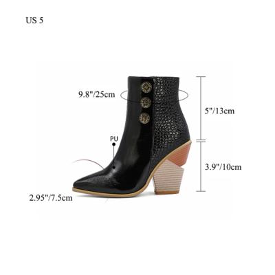 Snake Effect Button Boots Zipper Block Heel Ankle Booties