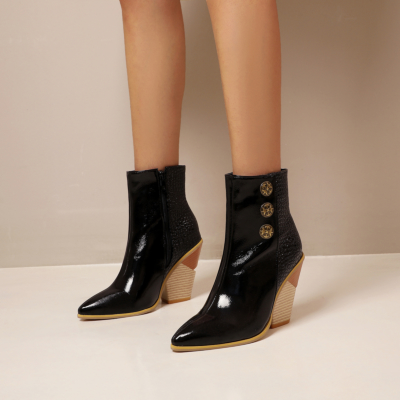 Black Patent Leather Snake Effect Button Boots Zipper Block Heel Ankle Booties