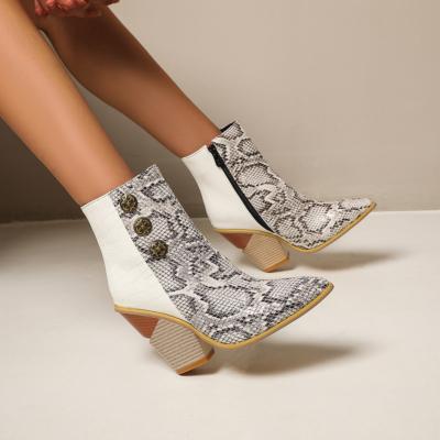 White Snake Effect Button Boots Zipper Block Heel Ankle Booties