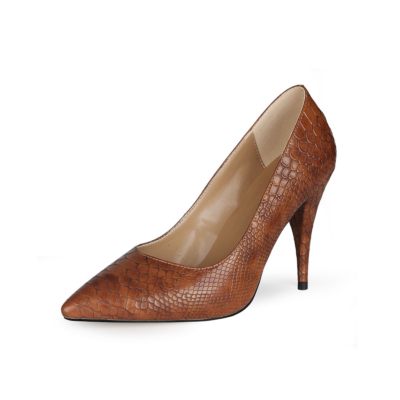 Brown Python Embossed 2021 Spring 4 inch Heels Pumps Shoes with Pointed Toe