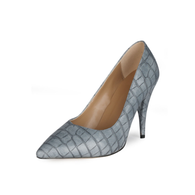 Grey Snake Printed 2021 Spring 4 inch Heels Pumps Shoes with Pointed Toe