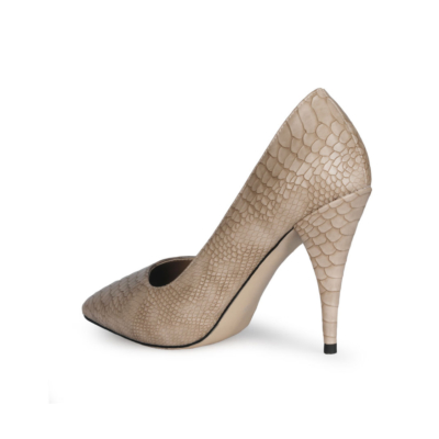 Apricot Python Embossed 2021 Spring 4 inch Heels Pumps Shoes with Pointed Toe