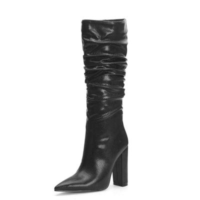 Black Snake Embossed Pointy Toe Zip Block Heel Slouchy Mid Calf Boots