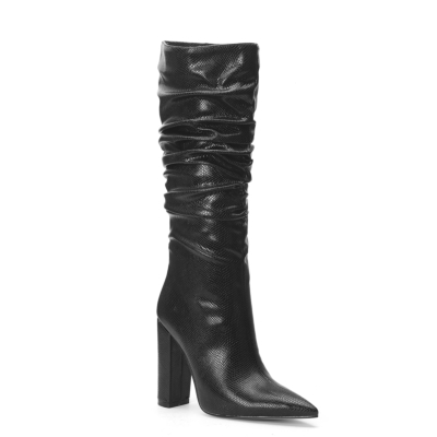 Snake Embossed Pointy Toe Zip Block Heel Slouchy Mid Calf Boots