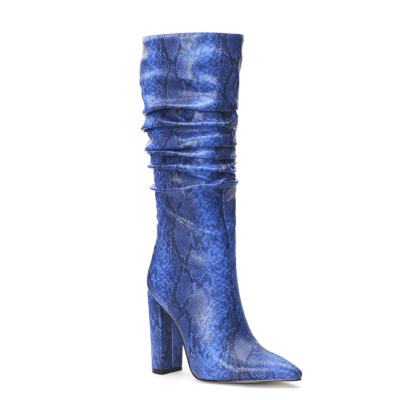 Blue Snake Embossed Pointy Toe Zip Block Heel Slouchy Mid Calf Boots
