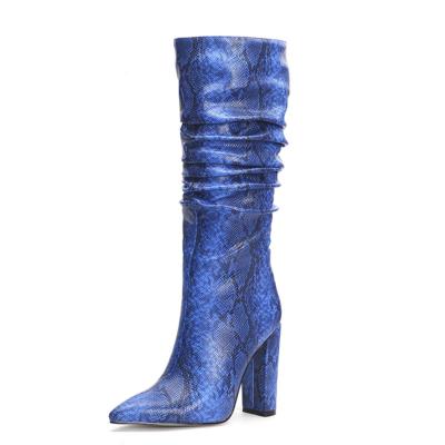 Blue Snake Embossed Pointy Toe Zip Block Heel Slouchy Mid Calf Boots