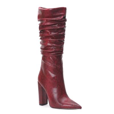 Burgundy Snake Embossed Zip Block Heel Slouchy Mid Calf Boots