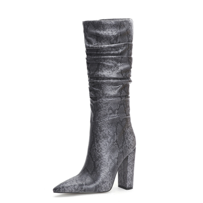 Grey Snake Embossed Pointy Toe Zip Block Heel Slouchy Mid Calf Boots