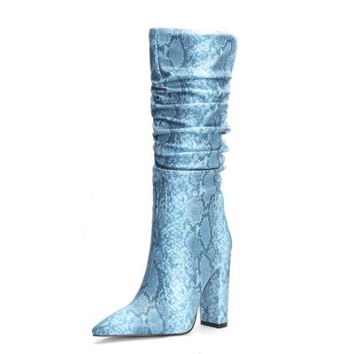 Light Blue Snake Embossed Zip Block Heel Slouchy Mid Calf Boots