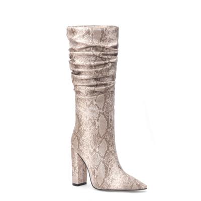 Nude Snake Embossed Pointy Toe Zip Block Heel Slouchy Mid Calf Boots