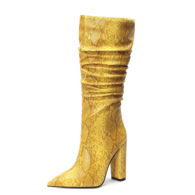 Yellow Snake Embossed Pointy Toe Zip Block Heel Slouchy Mid Calf Boots
