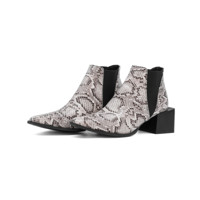 Snake Print Chelsea Boots Chunky Heel Short Ankle Boots