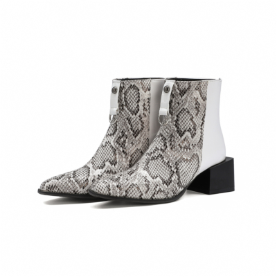 Snake Print Chunky Square Heel Ankle Boots with Back Zipper