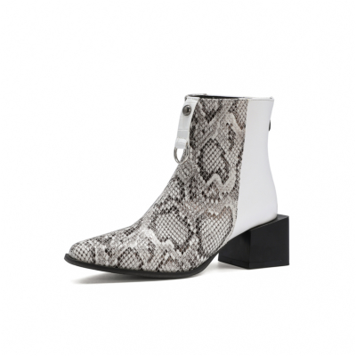Black&White Snake Print Chunky Square Heel Ankle Boots with Back Zipper