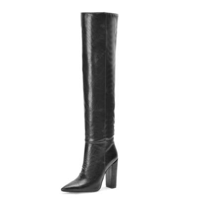 Snake Printed Pointy Toe Block Heel Women knee High Boots