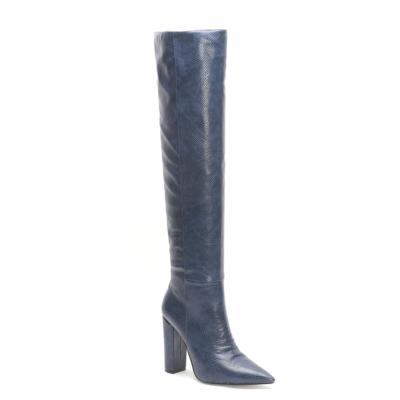 Blue Snake Printed Pointy Toe Block Heel Women knee High Boots