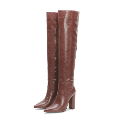 Brown Snake Printed Pointy Toe Block Heel Women knee High Boots