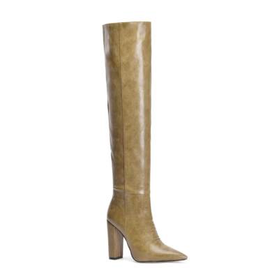 Green Snake Printed Pointy Toe Block Heel Women knee High Boots
