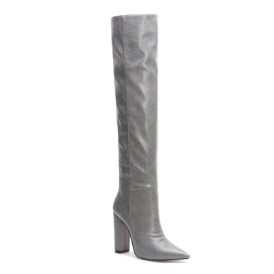 Snake Printed Pointy Toe Block Heel Women knee High Boots