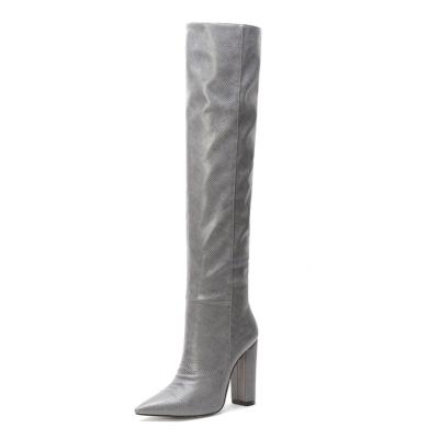 Grey Snake Printed Pointy Toe Block Heel Women Knee High Boots