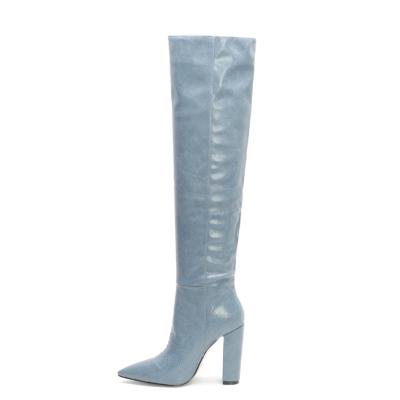 Light blue Snake Printed Pointy Toe Block Heel Women knee High Boots