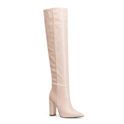 Pink Snake Printed Pointy Toe Block Heel Women knee High Boots