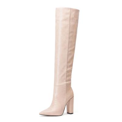 Pink Snake Printed Pointy Toe Block Heel Women knee High Boots